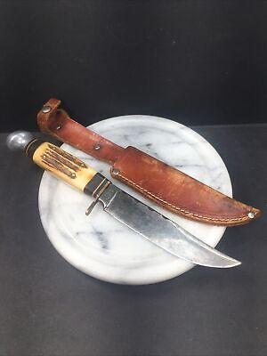 """VTG Olsen Knife Co. Stag Bowie Knife W/Sheath 2700 5"""" ST Solingen Germany Sharp!"""