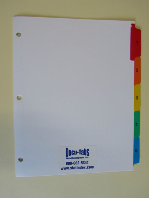 500 SETS # 1-5 Numbered index tab dividers, 3 hole punched + 2 hole at top