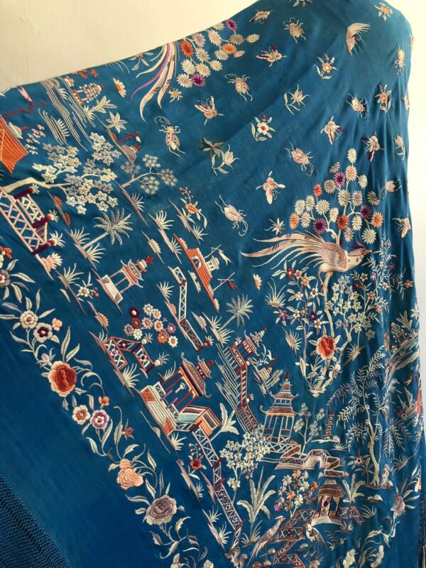 Huge Fine Antique Bright Azure Blue Embroidered Piano Shawl Birds Insects 68x64+