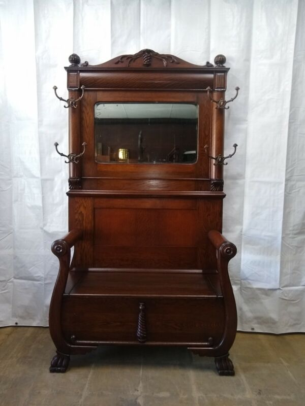 Antique Oak Hall Seat Old Finish Claw Feet
