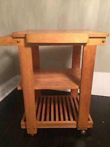 Solid wood tea cart