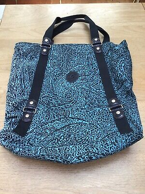 Kipling Large Travel, Shopping, Beach, Gym Tote Bag in BLUE AZTEC PRINT Used