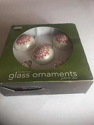 Martha Stewart Yuletide Cheer Xmas Glass Ornaments Pink Design Rare New