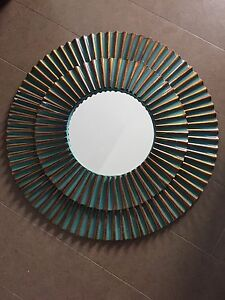 """Metal Green/Copper Round wall mirror 26"""""""