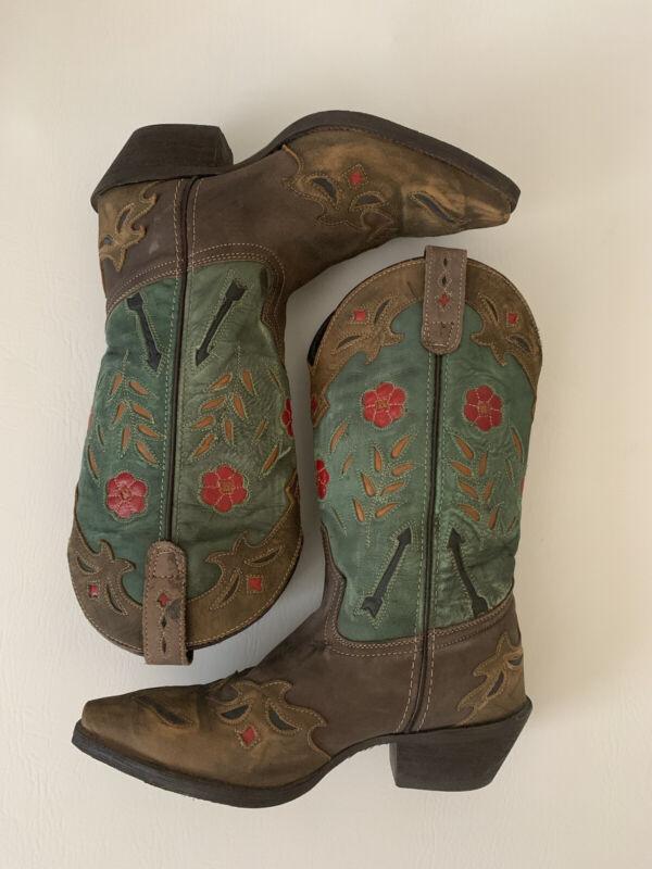 Laredo Ladies Miss Kate Western Floral Rose Boot Brown Teal #52138 Size 7.5 EUC