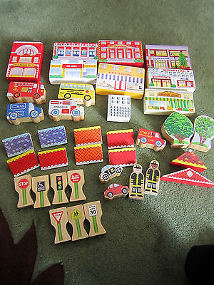 Toys & Hobbies-Set of 37 Neighborhood Wooden Blocks