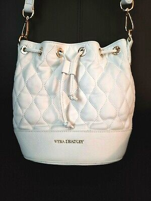 Vera Bradley Quilted Leather Emerson bucket Shoulder Handbag *Bright White*