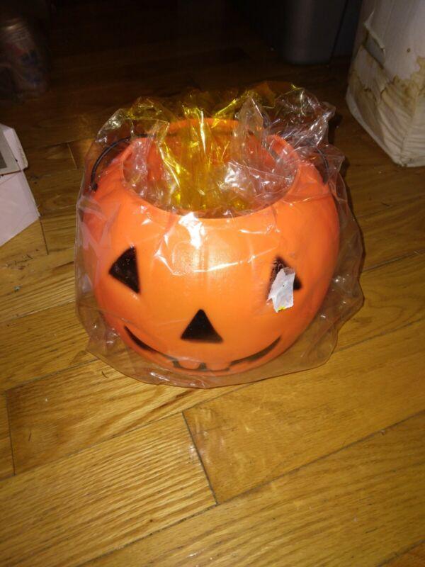 Vintage Halloween Blow Mold Light Up Jack O Lantern Blow Mold NOS Old Stock