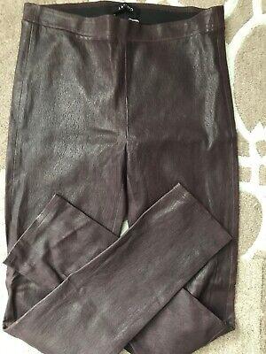 NWT J Brand Edita Mid Rise Brown Lamb Leather Leggings L8007 Size:L