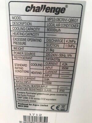 challenge air conditioner 8000btu/h