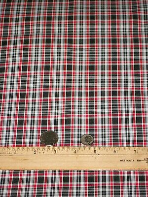 "2 1/2 Yards Red /Black /White Plaid/Check Taffeta Fabric 48""W"