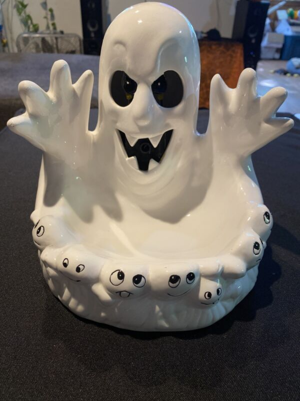 Halloween Ceramic Ghost Candy Dish White with Hands Animated Sounds Lights Spook
