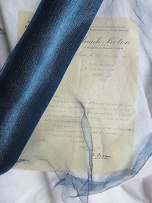 "18"" Antique Vintage UNUSED French Blue Metallic Mesh Tricotene Victorian"