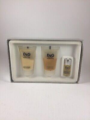 D&G Feminine Dolce & Gabbana Women Set 0.8 oz EDT, 1.7 oz Body Milk, 1.7 oz Gel