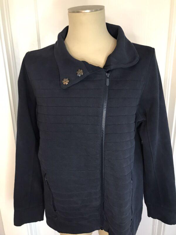 LULULEMON Womens BE TRUE Sz 12 Quilted Asymmetrical Zip Jacket NAVY BLUE