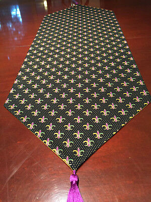 Mardi Gras Gold, Purple & Green Fleur-de-Lis Cotton Table Runner by ThemeRunners