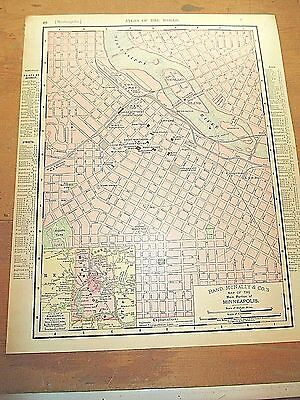 Antique 1898 Colored City Map of MINNEAPOLIS & Reverse Side is ST. PAUL
