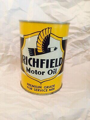 Original Vintage Richfield One Quart Motor Oil Can Metal NOS