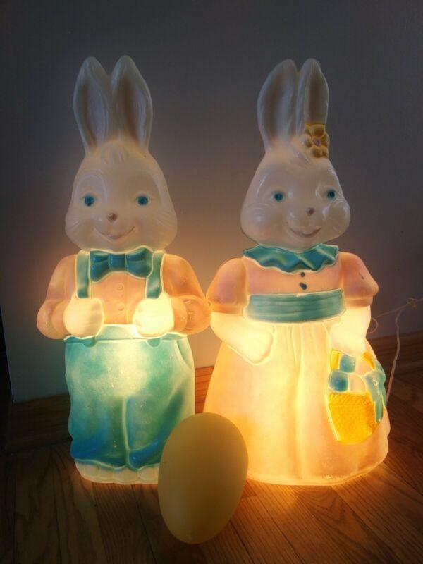 Empire Carolina 1994 boy girl Bunny egg blow mold Mr Mrs set lights Easter tags
