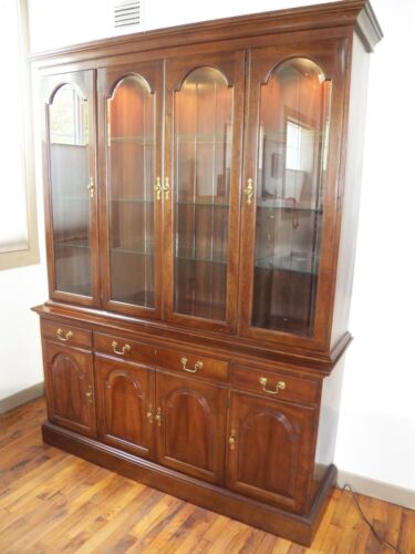 Leopold Stickley Cherry China Cabinet Lighted beveled glass Quality Furniture