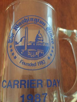 The Washington Times 1987 Carrier Day Glass Mug Beer