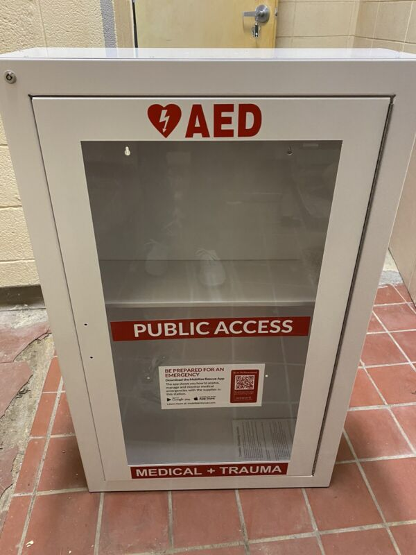 """36"""" AED Cabinet Emergency Medical Trauma Case Wall Mounted Public Access"""