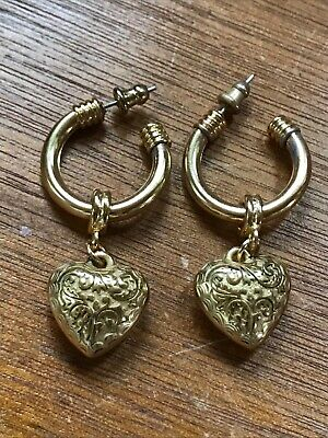Estate Goldtone Tubular Hoops with Etched Puffy Heart Charm Dangle Post Earrings