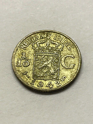 1942-S Netherlands-East Indies 1/10 Gulden Silver VF+ #10531