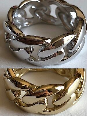 Mens Miami Cuban Link Ring 14K Gold Rhodium Over 925 Silver Pinkie Pinky Band