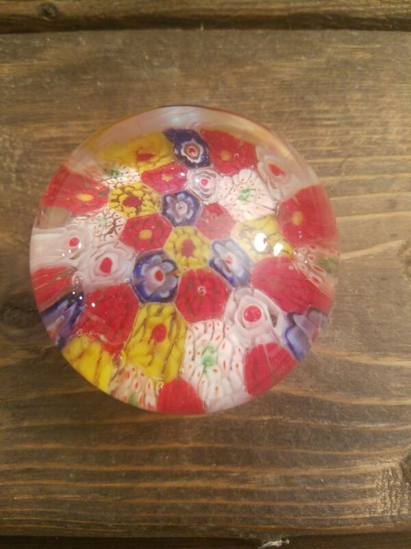 Vintage Small Milleflori  Art Glass Paperweight Red ,Yellow, White, Blue