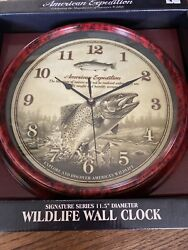 """New American Expedition Wall Clock Trout Rustic Lodge Wildlife Cabin 11.5"""""""