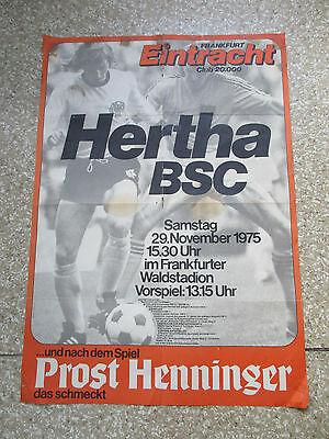 Eintracht Frankfurt - Hertha BSC Spielposter Bundesliga Plaket vom 29.11.1975