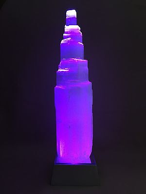 Selenite Lamp Crystal Gemstone Selenite Tower Point Lamp W Led Light Base Reiki