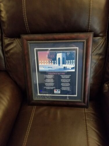 Framed WWII Memorial First Day Of Issue Stamp With Freedom Is Not Free Poem - $40.00