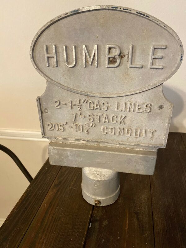 VINTAGE HUMBLE OIL TEXAS GASOLINE GAS PIPELINE CAST METAL SIGN MARKER