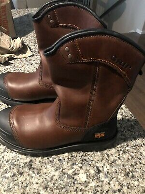 Men's TIMBERLAND Pro Caprock WELLINGTON steel toe boots 9.5 brown Leather 9 1/2