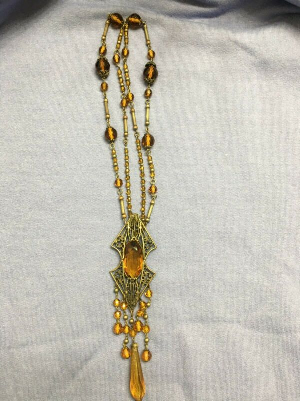 Vintage Antique Victorian Edwardian Gold Metal Amber Glass Lavalier Necklace