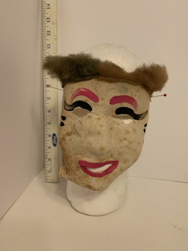 Vintage 1930s 40s 50s Hand Painted Gauze Cloth Fabric Scary Halloween Mask