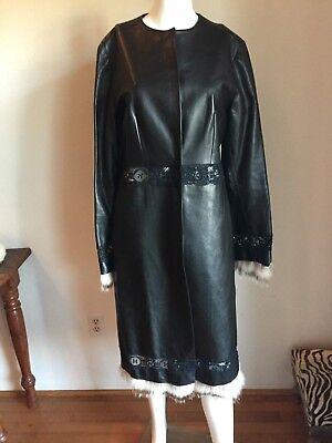 NWT J.MENDEL Black Lambskin Fur trim Snap Up Coat US 8 PRISTINE