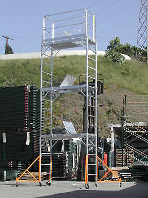 Aluminum Scaffold Rolling Tower 17 Standing Hatch Decks High Guard Rail U Locks