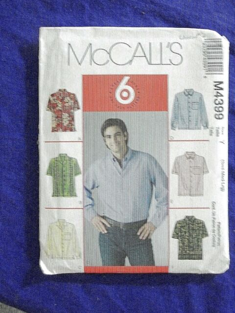 UNCUT MCCALLS #4399 MENS SHIRT SEWING PATTERN SZ  CHEST S-M-L 34-36-38-40-42-44