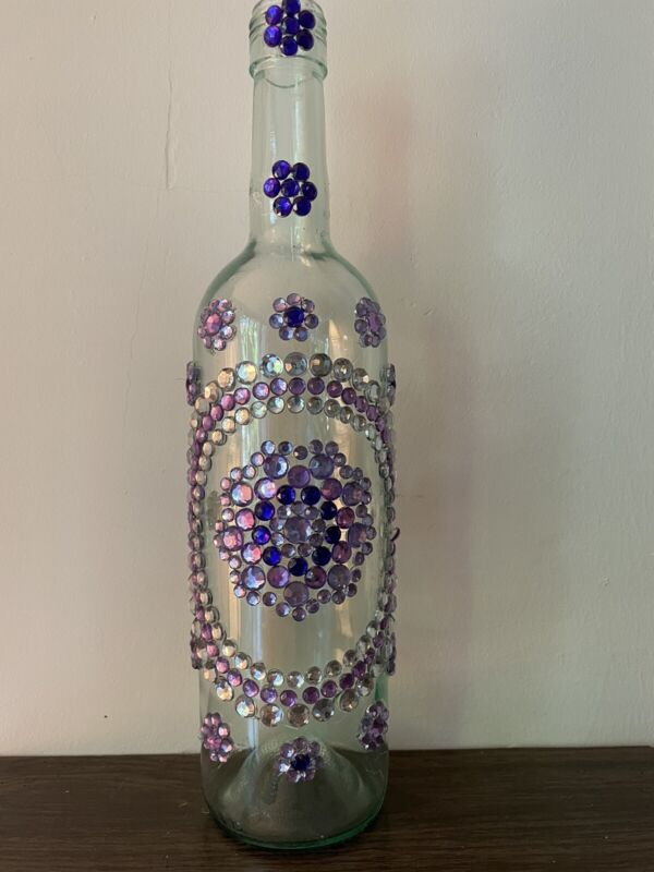 One of a decorative Hand Made Bottle with Beautiful Acrylic Gems