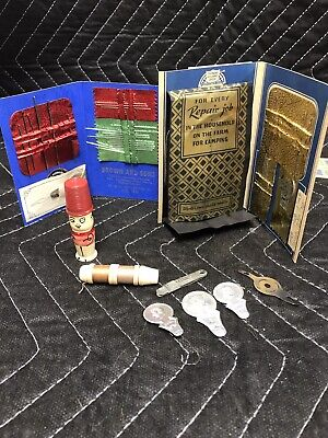 Lot Vintage Sewing Kit Doll Thimble Hat Thread Needle Case Holders Advertising Z