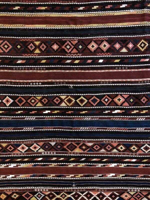 Sensational Shirvan - 1940s Antique Kilim Rug - Caucasian Flatweave 5.10 X 6.10