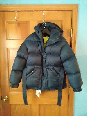 Perfect Moment Womens Size S Goose Puffer Down Parka Navy Blue/Yellow lining