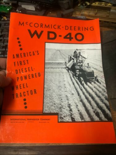 OLD VINTAGE McCormick Deering WD-40 color sales catalog  very nice         RW