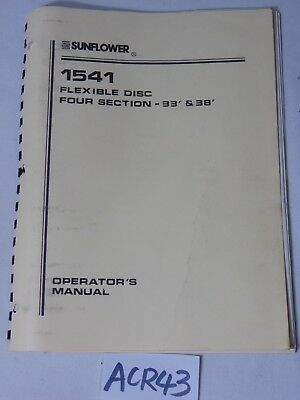 Operators Manual Farm Book Sunflower 1541 Flexible Disc Four Section 33 38