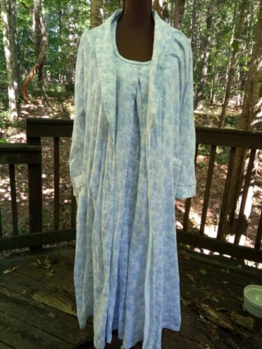Maternity Nightgown and Robe by Motherhood, 100% Cotton, Sz. Medium, Blue Toile