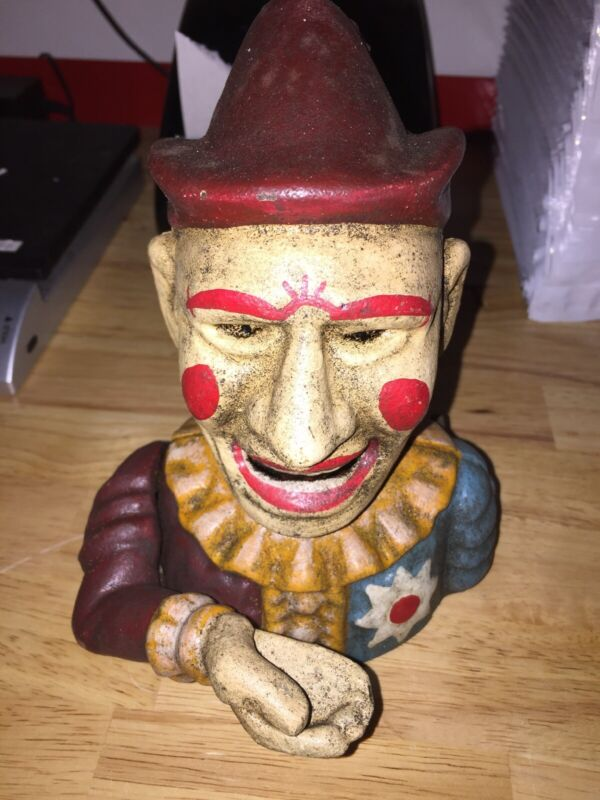 Clown Circus Mechanical Arm Piggy Bank Antique Style 5+ Lbs Collector WOW Ex