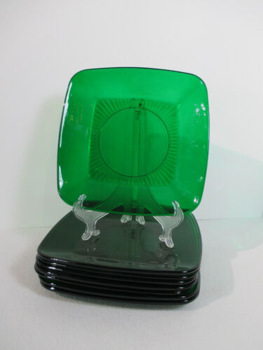Plate Lunch Anchor Hocking Charm Forest Green Glass Square Holiday Vtg 8pcs